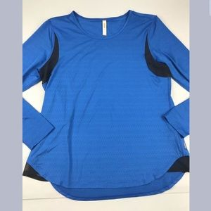 Lucy Perforated Mesh Long Sleeve Athletic Top SZ L